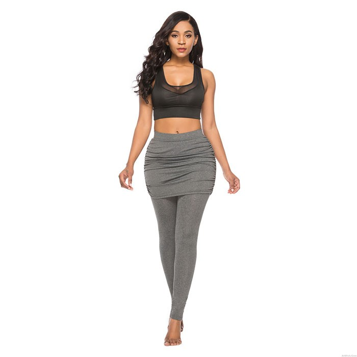 Fashion Pack Hip Side Pleated Skirt Fake Two-piece Leggings Culottes Women's Leggings