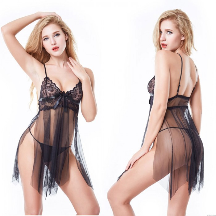 Sexy Babydoll For Women Transparent Side Open Irregular Hem Chemise Bowknot Lace Perspective Mesh Nightgown Lingerie