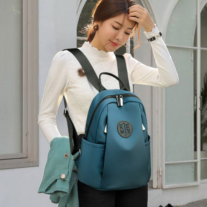 Fashion Simple INS Style Side Zipper College School Bag Girl Teen Backpack