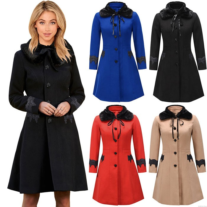 Elegant Autumn Winter Woolen Lapel Detachable Fur Collar Lace Women's Long Coat