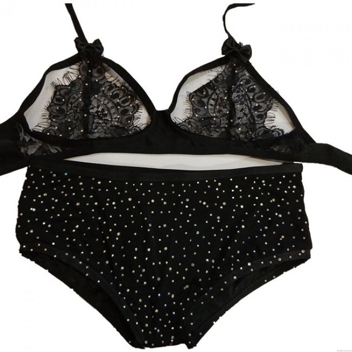 Sexy Mesh Stitching Flash Drilling Women's Lace Sequin Lingerie