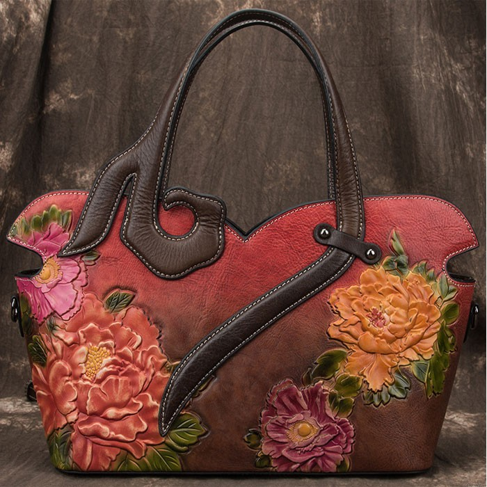Vintage 3D Embossing Flower Rose Large Handmade Women Handbag Large Shoulder Bag