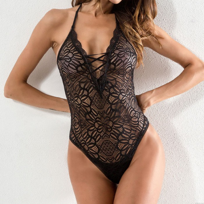 Sexy Lace Siamese Mesh Perspective Bandage See Through Women Lingerie