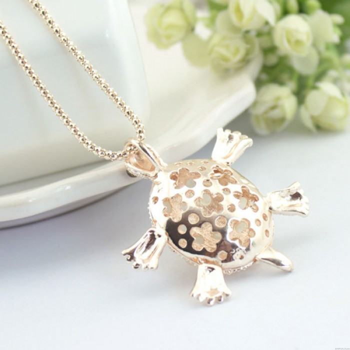 Little Turtle Lovely Opal Hollow Flower Pendant Necklace Sweater Necklace