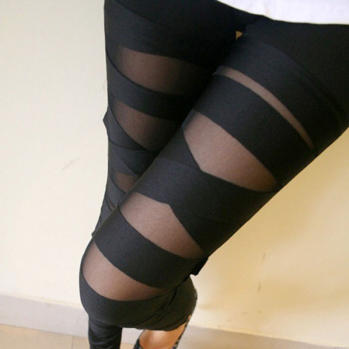 Sexy Hollow Out Strap Mesh Leggings