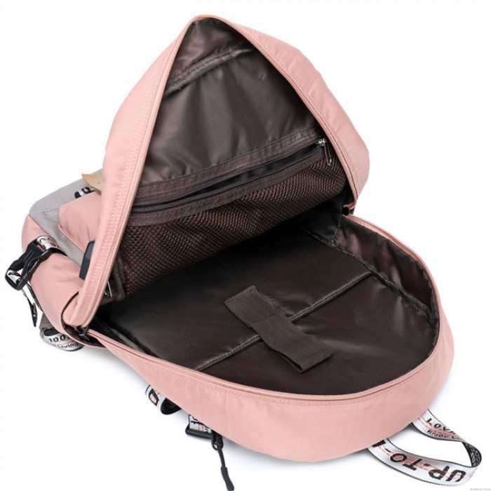New Student Contrast Stitching Bag USB School Backpack  Large Capacity Computer Backpack