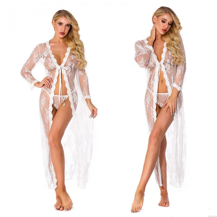Sexy Plus Size Lace Hollow Nightgown Long Sleeve Transparent Nightdress Lingerie Long Lace Robe For Women