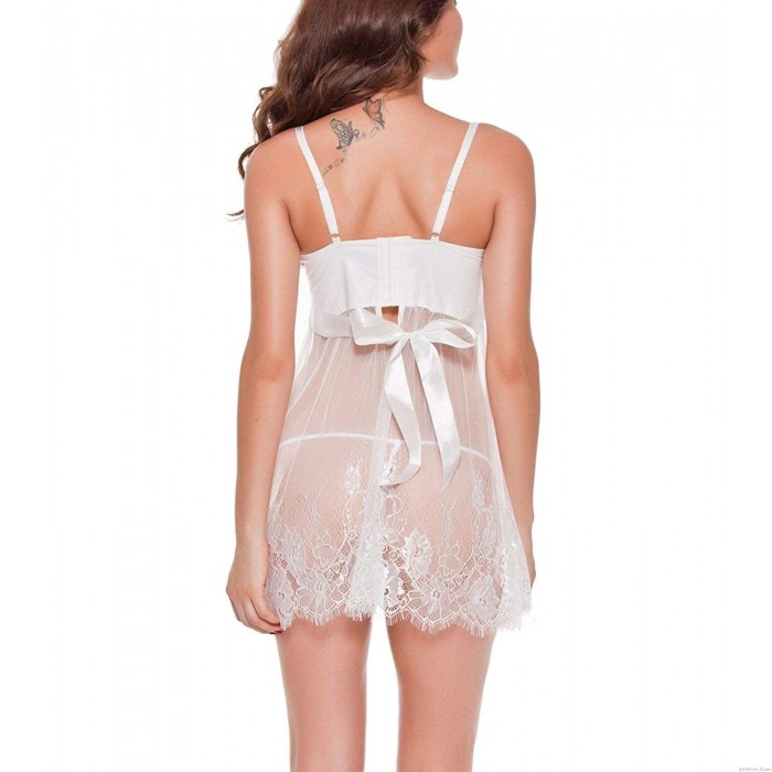 Sexy  Mesh Perspective Skirt Babydoll  Women's Lingerie White Bridal Nightgown Floral Lace Chemise