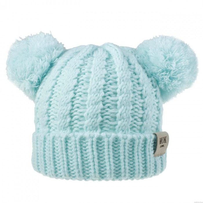 Lovely Twisted Double Wool Ball Cap Soft Knit Winter Child Hat