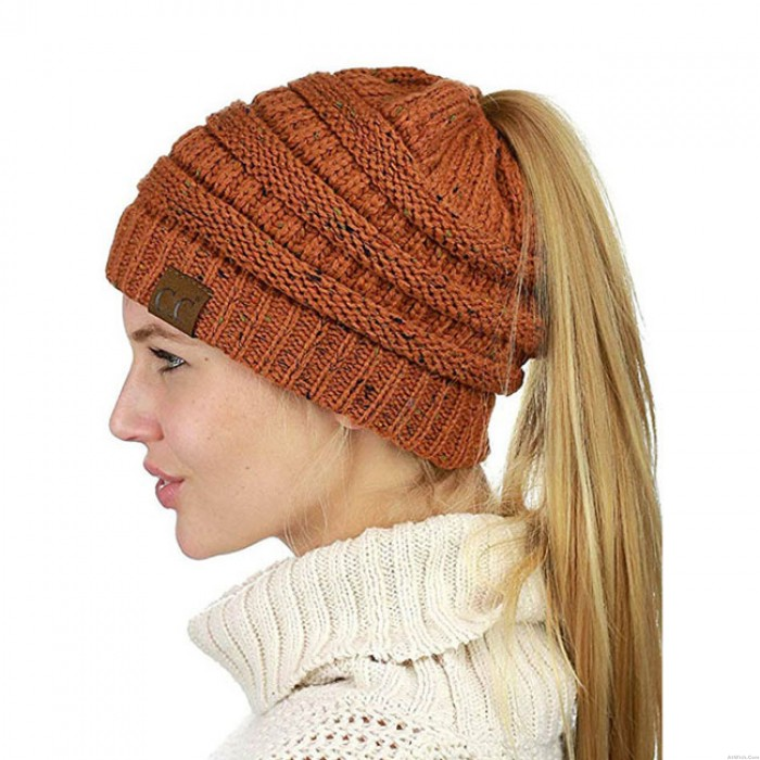 New Ponytail Outside Headbands Mixed Color Warm Winter Women Hat