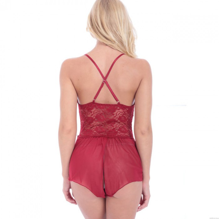 Sexy Flower Lace Hollow Black Red Dress Women Intimate Lingerie