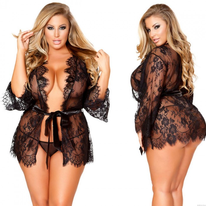 Sexy Night Gown Perspective Large Flower Lace Nightdress Women Intimate Lingerie