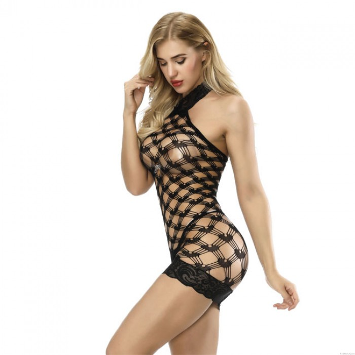Sexy Lace Fish Net Hollow Grid Conjoined Intimate Women Lingerie