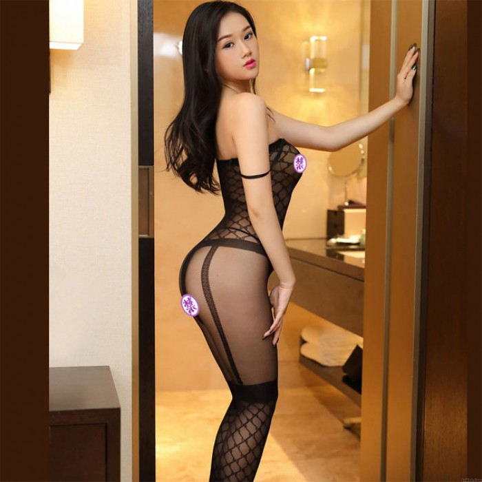 Sexy Hollow Siamese Mesh Conjoined Stockings Uniform Temptation Fishnet Intimate Lingerie
