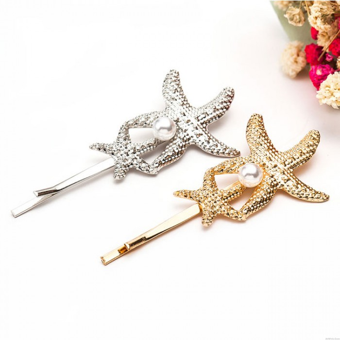 Cute Conch Shell Starfish Pearl Hairpin Clip Hair Accessory