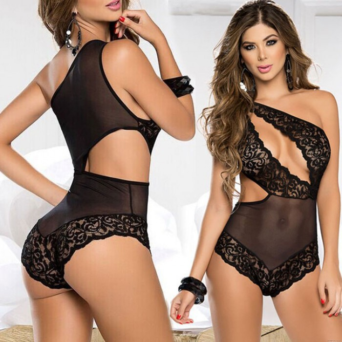 Sexy Mesh Lace Irregular Conjoined Black Hollow Lady Intimate Lingerie