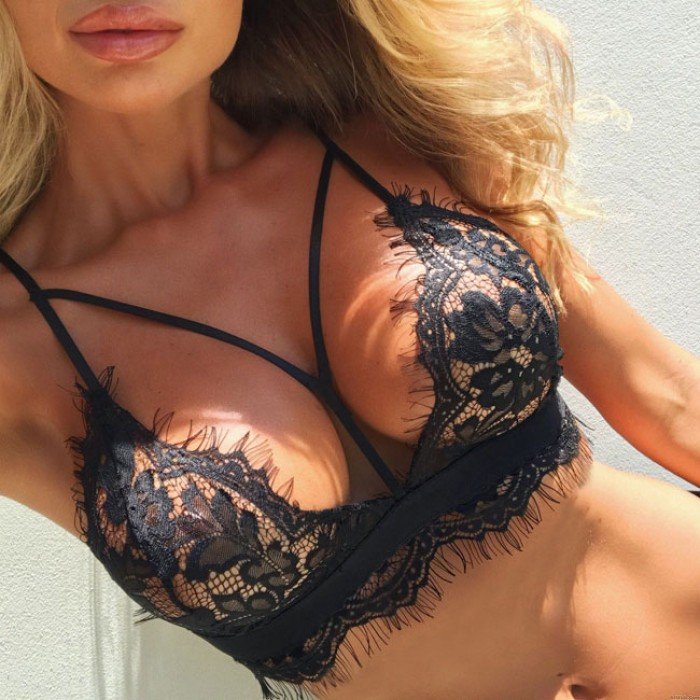 Sexy Lace Bra Women Black White Leaves Lace Intimate Lingerie