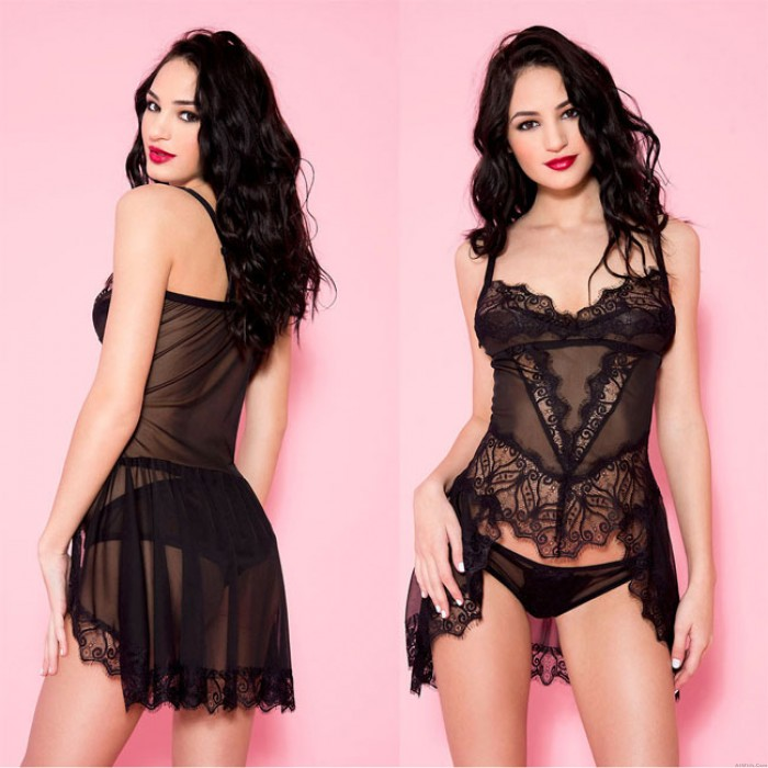 Sexy Black Lace Strap Nightdress Perspective Pajamas Women Intimate Lingerie