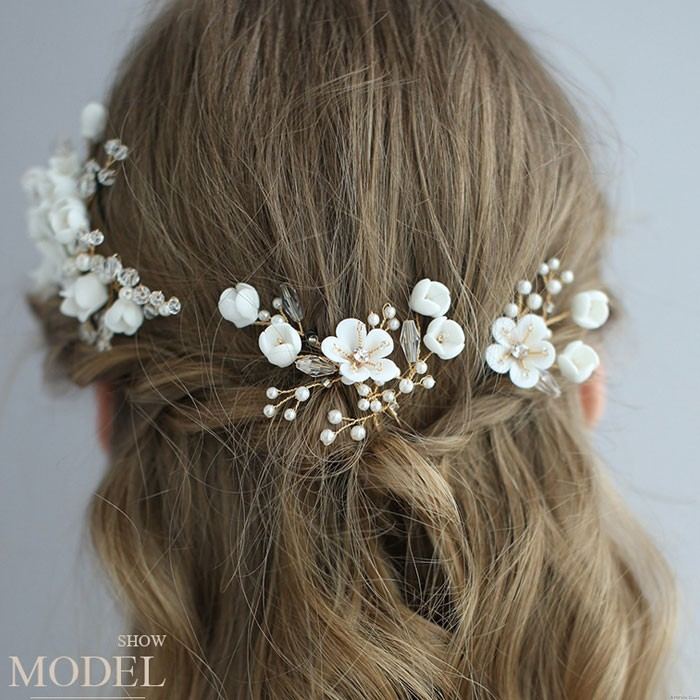 Sweet Bridal White Flower Branch Leaves Pearl Crystal Wedding Hair Band Hairpin Accessories