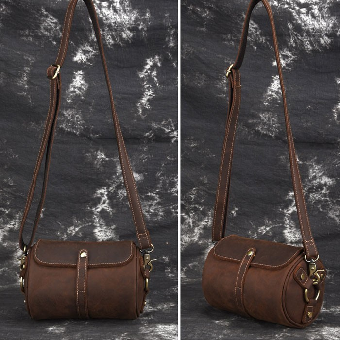 Retro Single Buckle Top Layer Cowhide Simple  Brown Small Cylinder Bag Shoulder Bag