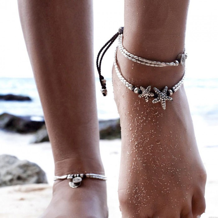 Vintage Double Starfish Rune Yoga Foot Accessory Bundle Summer Anklet