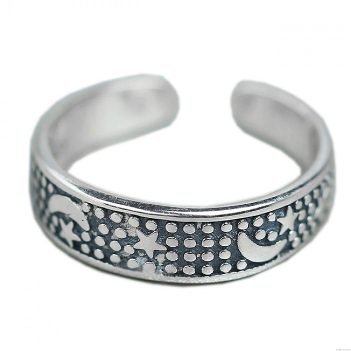 Retro Moon Open Adjustable Ring Bohemia Style Star Silver Rings