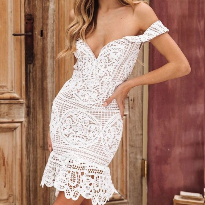 Sexy Wrapped Bust Lace  Hollow V Shape Summer Dress