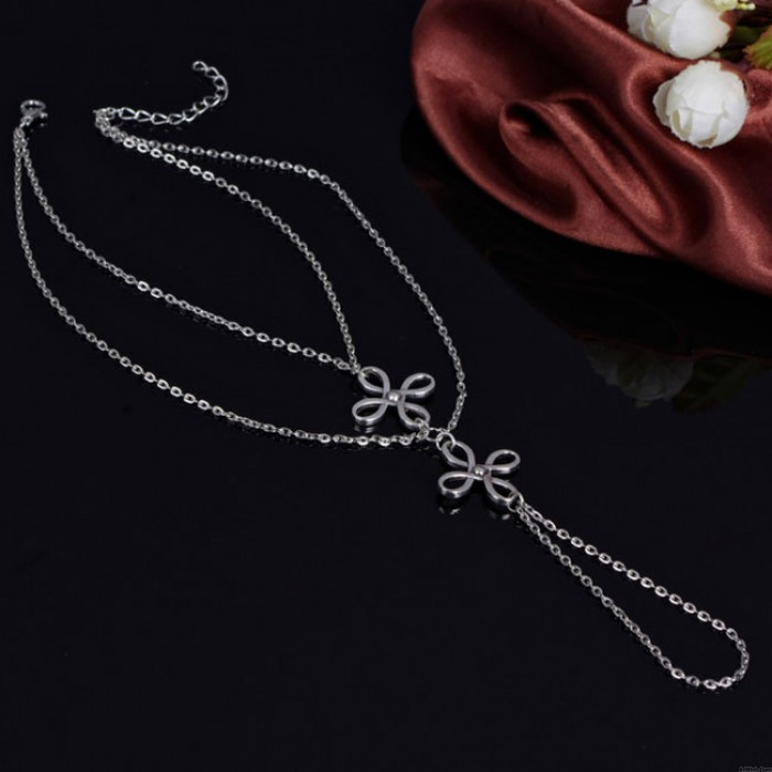 Retro Three Layers Knot Simple Toe Clover Foot Jewelry Chain Anklet