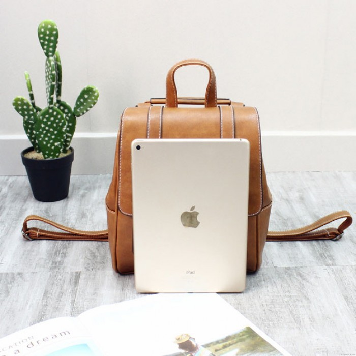 Retro Double Buckle British Style Rivet Soft PU College Backpack