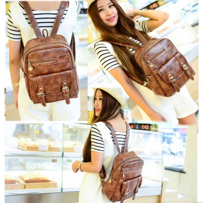 Retro Solid Casual College Student Backpacks