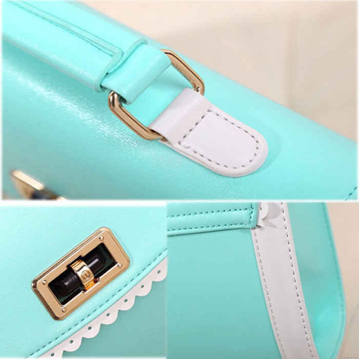 Glossy Solid Lace Leisure Shoulder Bags