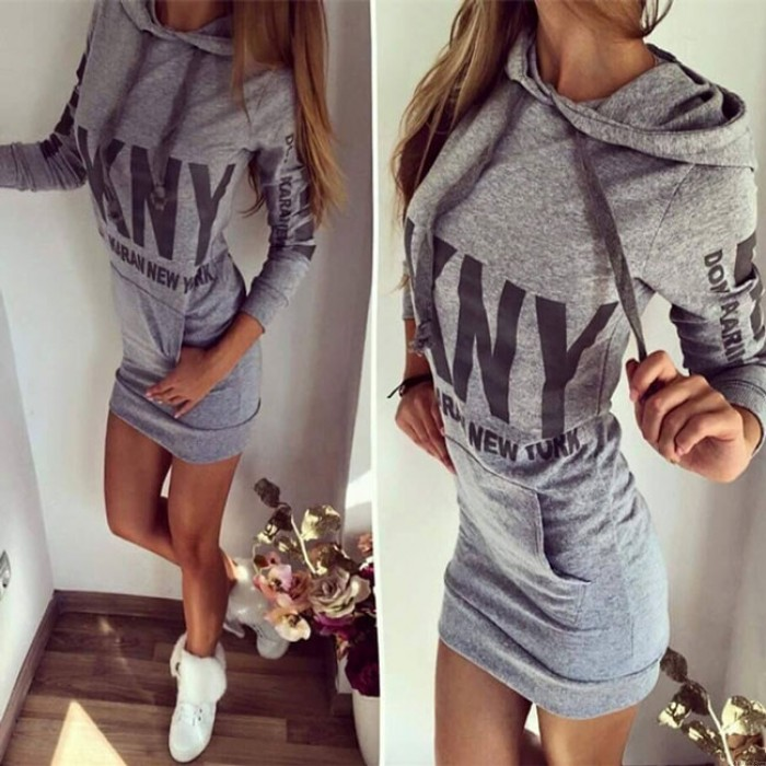 Cool Bodycon Hoodie Pullover Pockets Shirt Dress