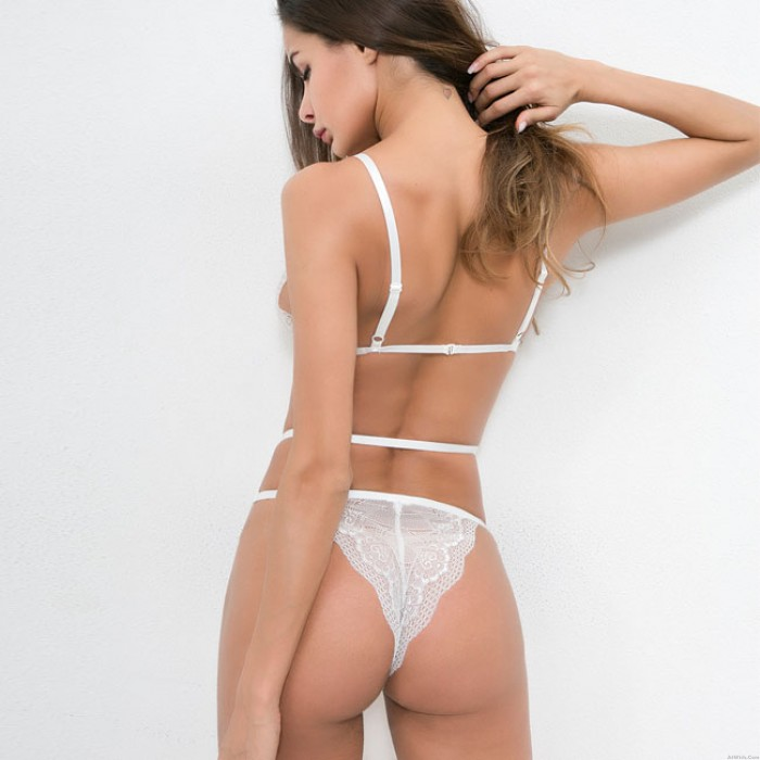 Sexy Black White Love Heart Lace Mesh Perspective Conjoined Underwear Intimate Lingerie