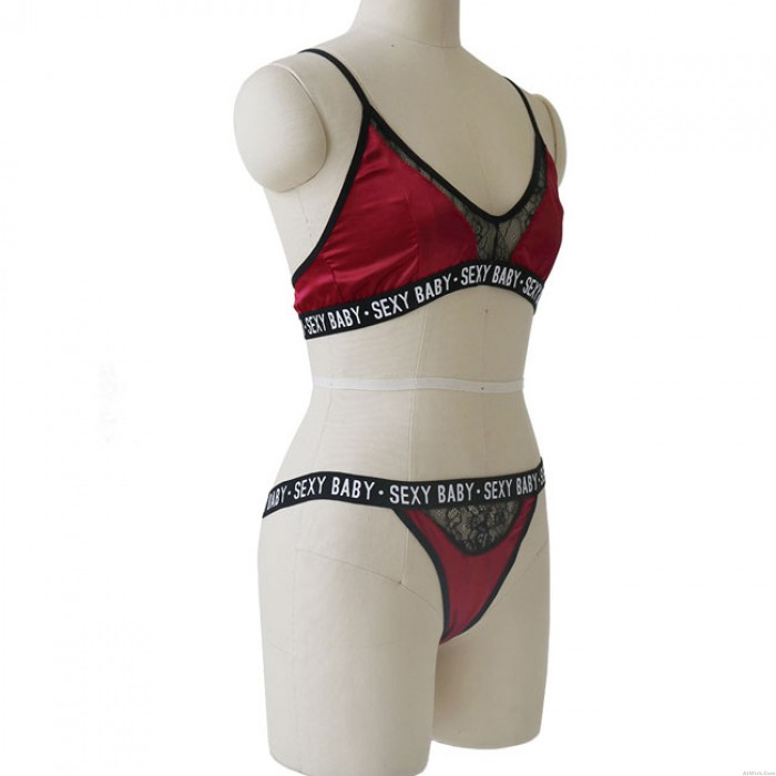 Sexy Wine Red Lace Sexy Baby Letter Hollow Intimate Women Lingerie