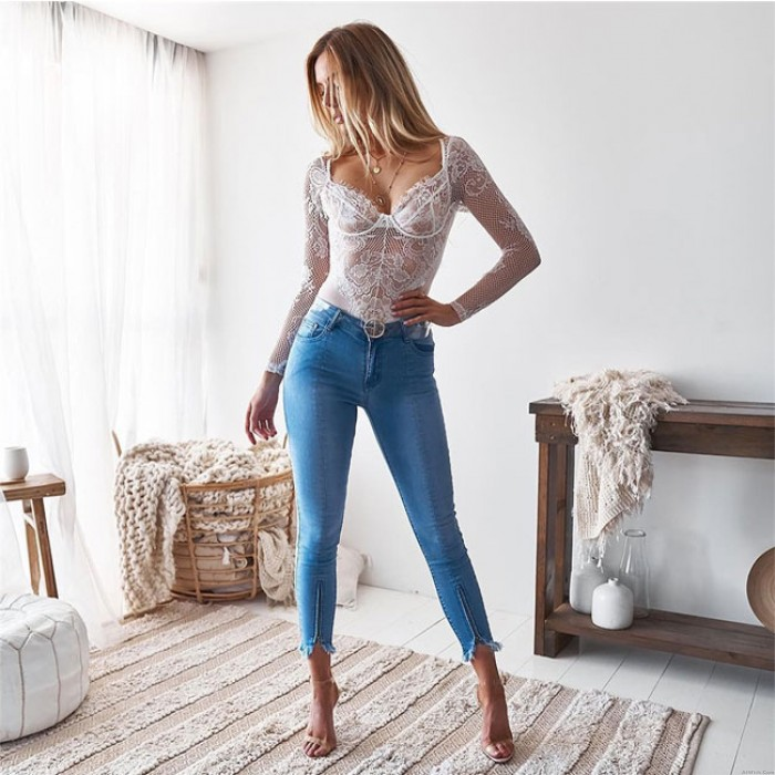 Sexy Long Sleeve Jumpsuit Net Perspective Lace Intimate Underwear Lingerie