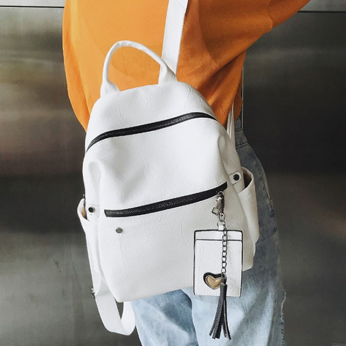Leisure Student Bag Retro Pure Soft PU Leather School Backpack