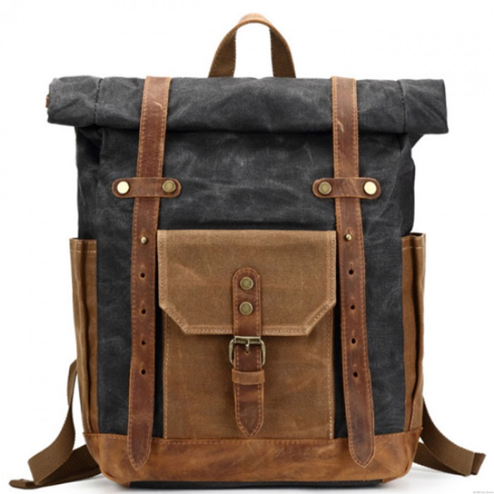 Retro Leather Thick Canvas Backpack Outdoor Camping Travel Backpack