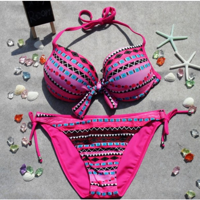 Hot Sexy sequined Padded Bandeau Bikinis Swimsuit