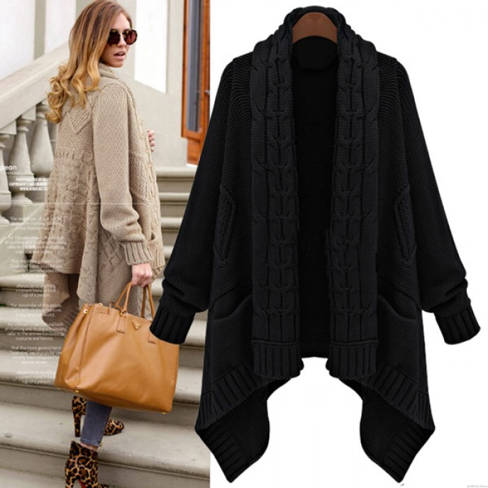 Retro Thick Loose Cable- Knit Wool Cardigan Coat
