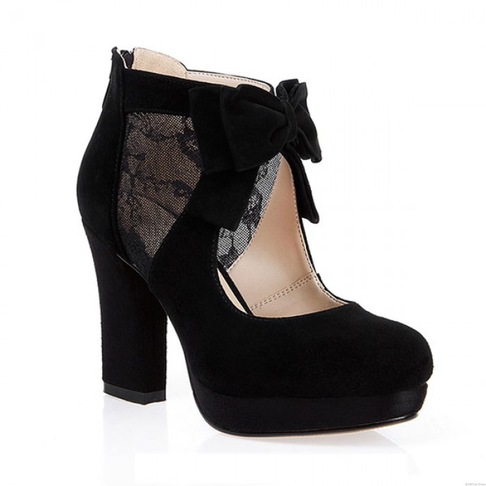 Sexy Mesh Bow Leather High Heels/Hollow Boots