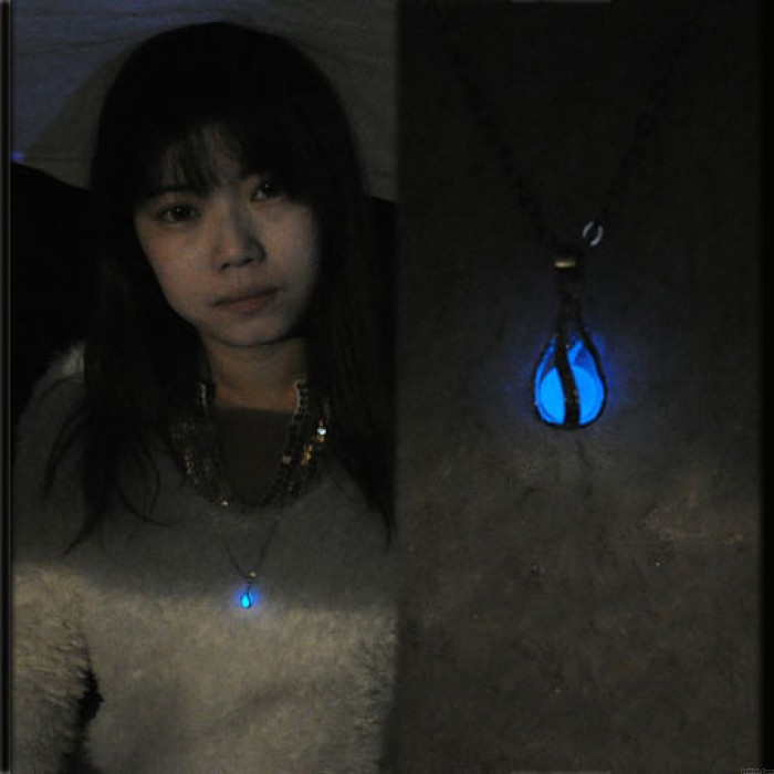 Original Silver-plated Glowing Pearl Luminous Ball Drop Pendant Necklace