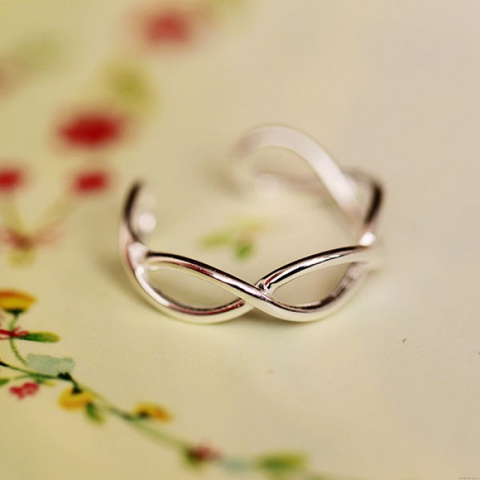 Unique Twisted Wave Silver Opening Ring