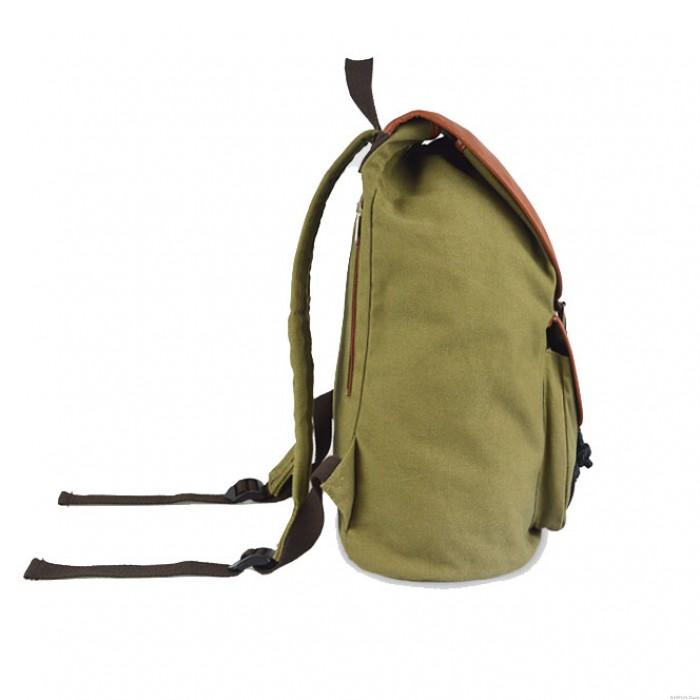 Retro College Canvas Bucket Bag Solid Drawstring Hasp Travel Backpack
