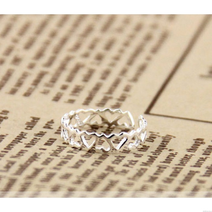 Lovely Hollow Heart-Shaped Tail Open Silver Ring