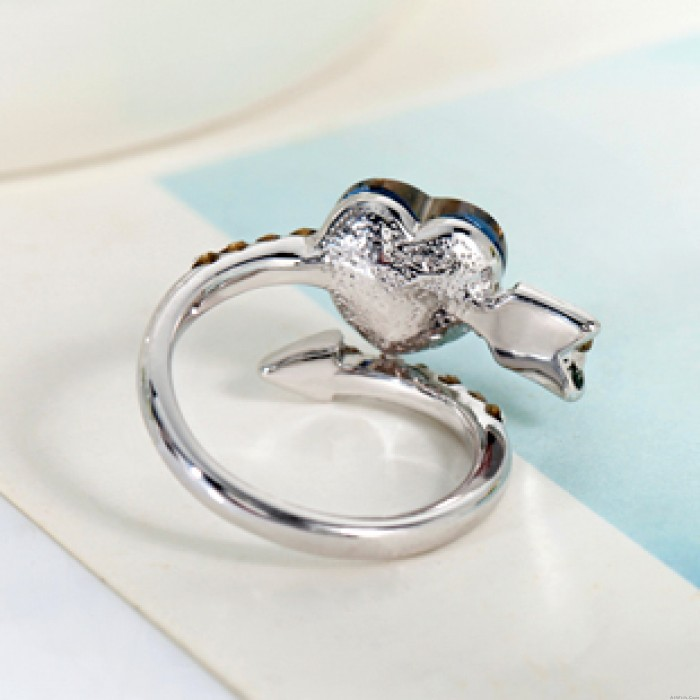 Sweet Arrows Of  Love Heart Crystal Ring