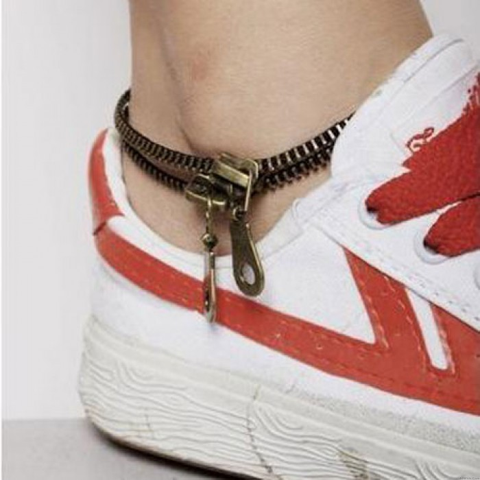 Personality Creative Retro Double Zipper Foot Jewelry Anklet