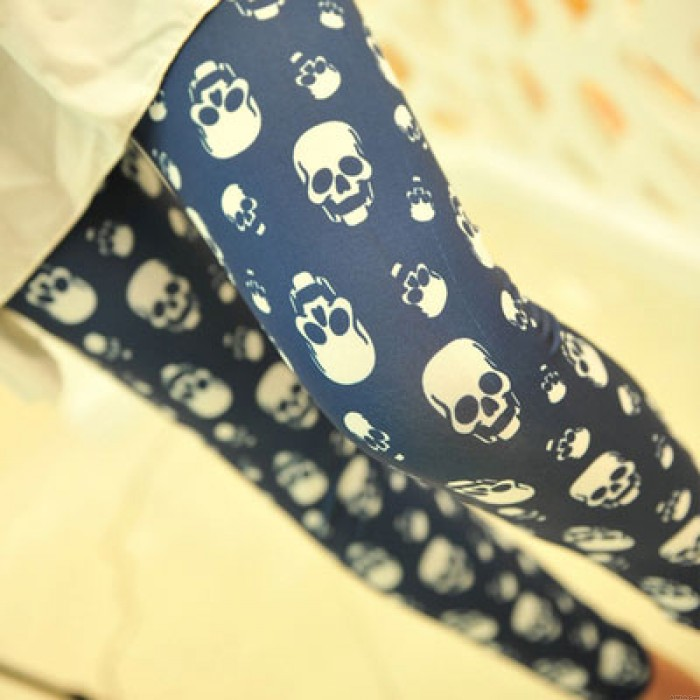 Unique Lip Skull Print Springy Pants/Leggings