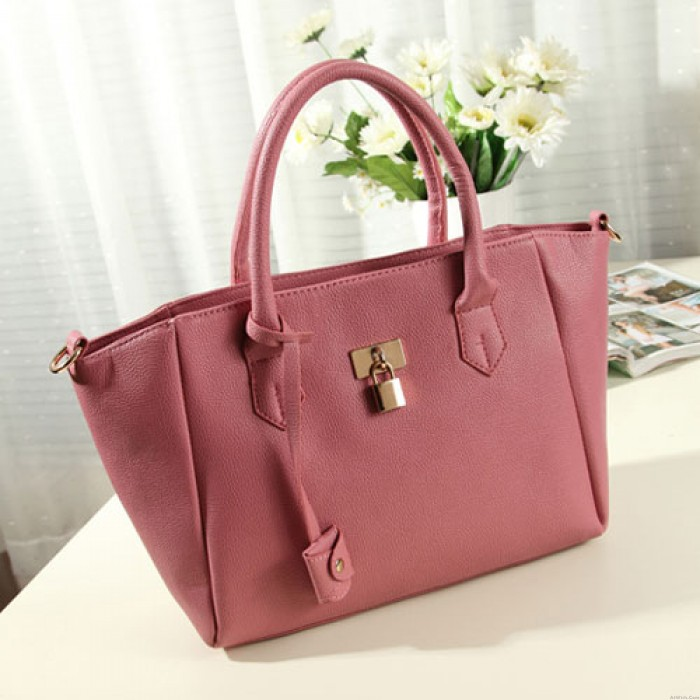 Sweet Simple Lady Solid Metal Lock Shoulder Bag Handbag