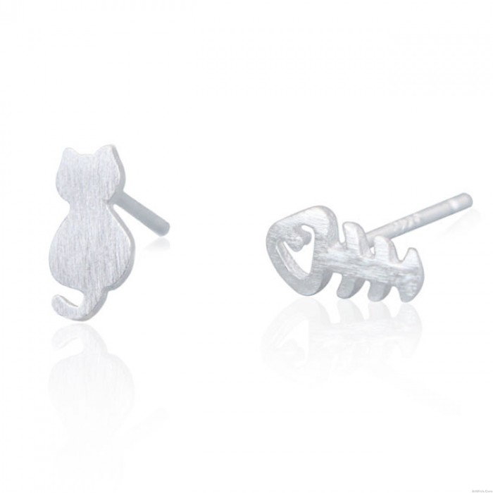 Unique Different Kitty Mini Brushed Cat  Fish Bone Silver Girl's Animals Earring Studs
