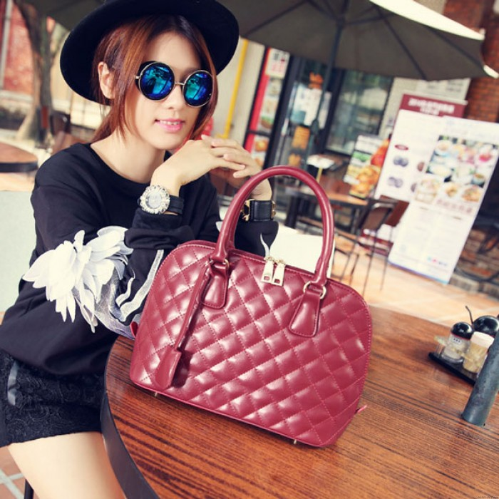 Rhombus Pattern Handbag Portable Bag Shoulder Bag